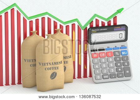 Coffee price and export concept chart with calculator and Vietnamese coffee bags. 3D rendering