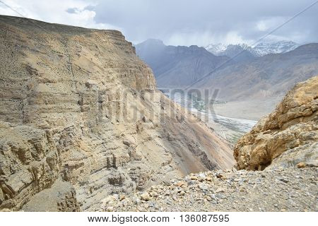 A dangerous looking gorge in Spiti Valley of Himachal Pradesh