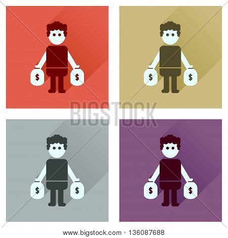 Concept flat icons with long  shadow man bags of money