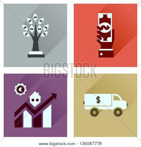 Concept flat icons with long  shadow banking