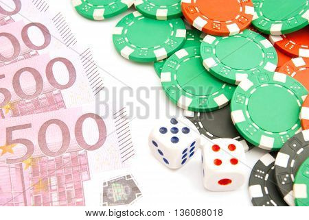 Dices, Euros And Plastic Chips