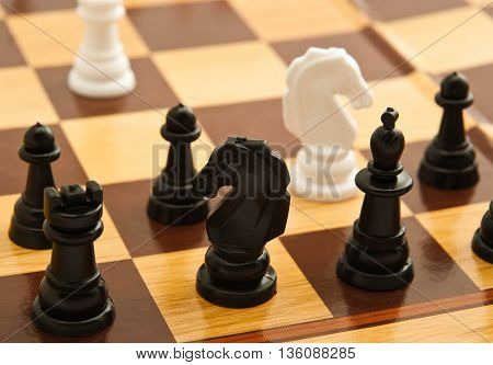 Black And White Chess On Chessboard