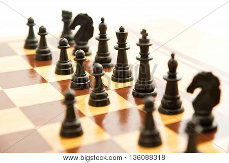 Black Chess On Chessboard