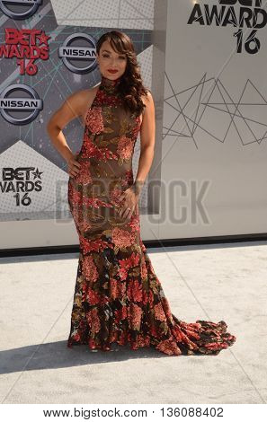 LOS ANGELES - JUN 26:  Mayte Garcia at the BET Awards Arrivals at the Microsoft Theater on June 26, 2016 in Los Angeles, CA