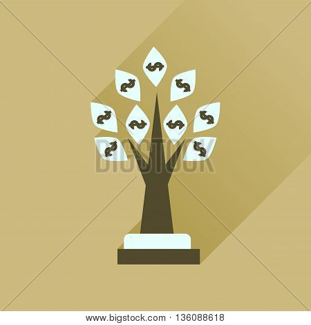Flat icon with long  shadow Money Tree