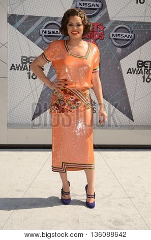 LOS ANGELES - JUN 26:  Andra Day at the BET Awards Arrivals at the Microsoft Theater on June 26, 2016 in Los Angeles, CA