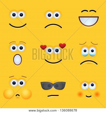 vector modern yellow face set background. Eps10 illustration
