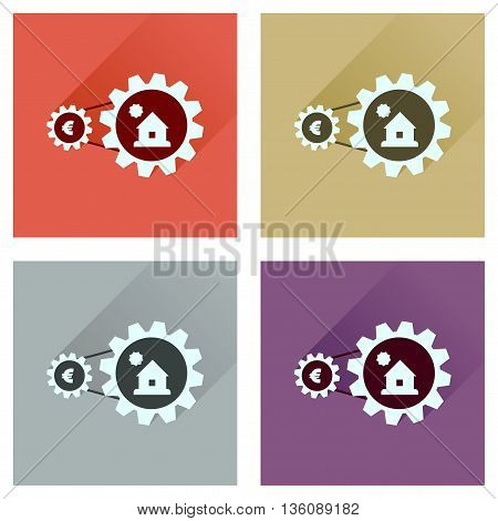 Concept flat icons with long  shadow money house