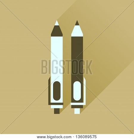 Flat icon with long  shadow pen and pencil