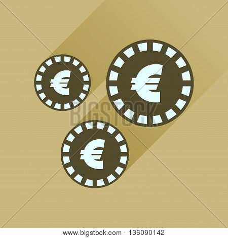Flat icon with long  shadow Euro coins