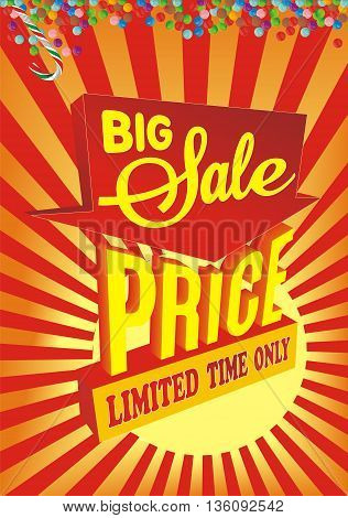 Big sale. Banner. Sale and discounts. Vector illustration