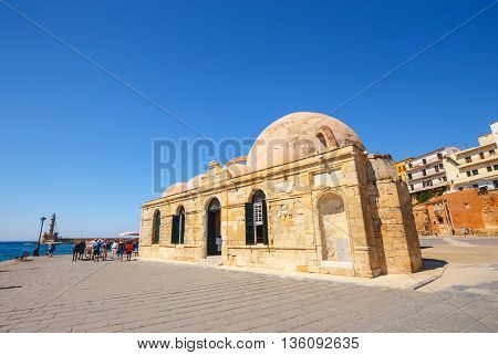 Chania, Crete - 23 Maj, 2016: View Of Mosque Of The Janissaries Or Giali Tzami Mosque In Chania On C