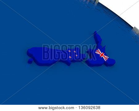 New Zealand With Flag
