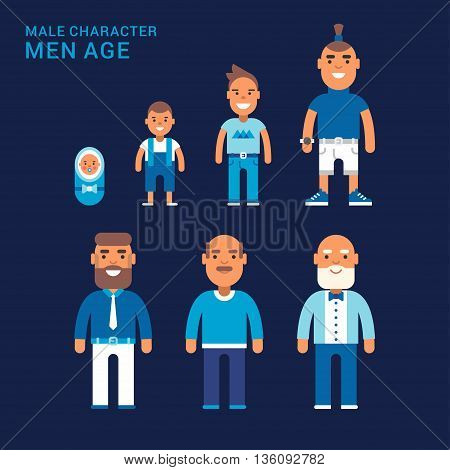 Men age. Different generations of men. From a cradle to a grave
