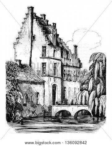 The Castle of Rubens, Steen, vintage engraved illustration. Magasin Pittoresque 1836.