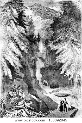 View of a Tyrolean landscape, See a description of the appearance of Tyrol, vintage engraved illustration. Magasin Pittoresque 1836.