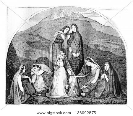 1836 Exhibition of Painting, Jephte's daughter, vintage engraved illustration. Magasin Pittoresque 1836.