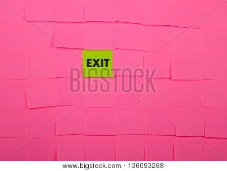Exit concept. Background of pink sticky notes.