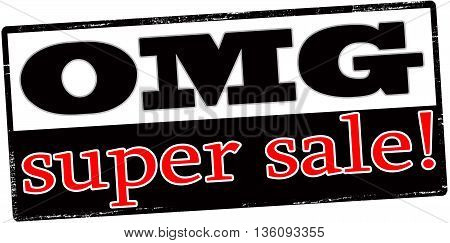 Rubber stamp with text super sale inside vector illustration