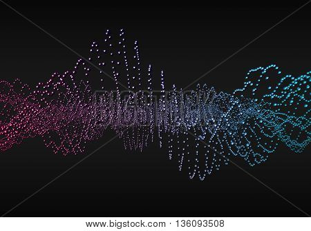 Abstract 3d rendering of waves with particles on black background. Futuristic background with lines of many low poly spheres. Design for poster, cover, banner, placard