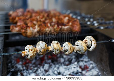 Mushroom barbecue at metal skewer. Diet vegan bbq in front of unfocused grilled meat. Fungi kebab at picnic outdoors