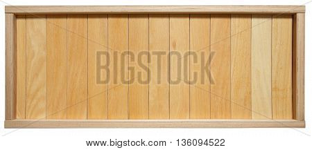 Wood plank brown texture background. Wooden timber planks in frame, furniture surface background. Light brown painted wood texture in frame. Boarded wood wall isolated at white