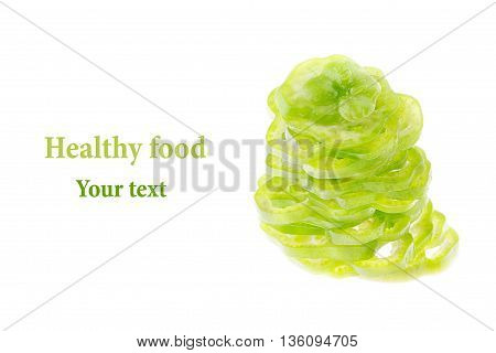 Pile of chopped green pepper rings. Paprika. Isolated. Food background. Copy space. Concept art.