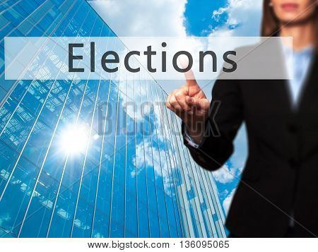 Elections - Businesswoman Hand Pressing Button On Touch Screen Interface.