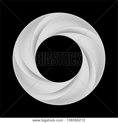 Metal spiral ring with bold layers on black background