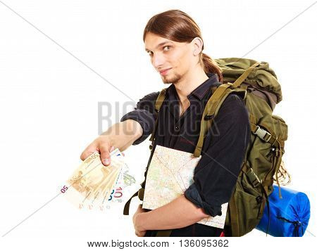 Man Tourist Backpacker Paying Euro Money. Travel.