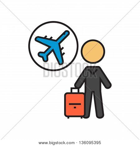 Airline passenger carrying suitcase. Airport, airplane, flight, air transport. Airport concept. Can be used for topics like airport, tourism, airline