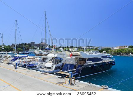 Boats in the Mandraki Harbor. Rhodes Town, Rhodes, Greece
