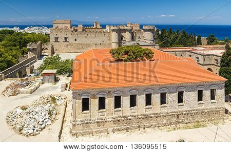 top view of the restored building and the main castle of Rhodes