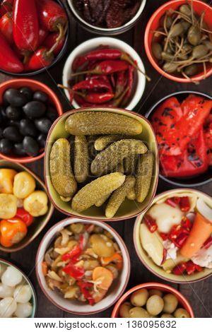 Pickled cucumber or cornishons, acid or vinegar preserved vegetable