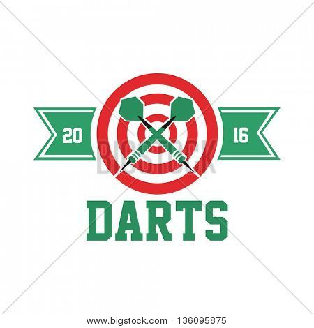 Darts label. Badge Logo. Darts sporting symbols. Darts, dartboard, ribbon for sport, sporting logo and leisure design. Vector Illustration.