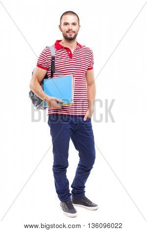 Male student with backpack and notebooks standing on white background