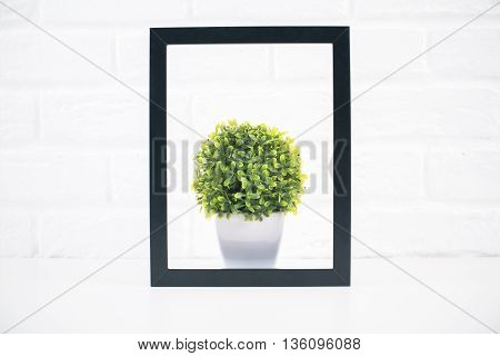 Small decorative plant inside black picture frame on white brick wall background