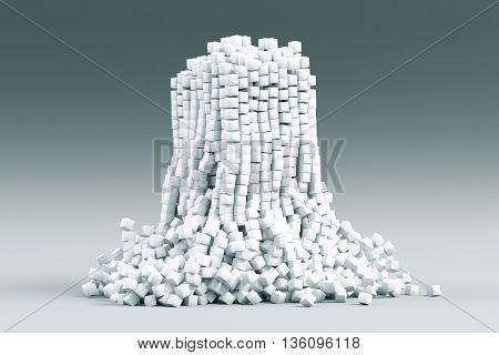 Abstract cube tower on light grey background. 3D Rendering