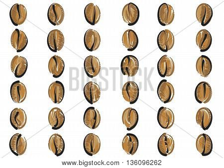 coffee beans set isolated on a white background