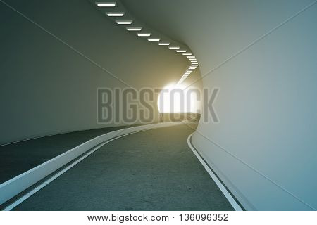 Road tunnel with bright light at the end. 3D Rendering