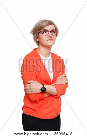 Young woman sad and lonely. Girl in red jacket and glasses disappointed hugging herself and looking up, feeling cold, upset and depressed isolated at white background. Emotional female portrait