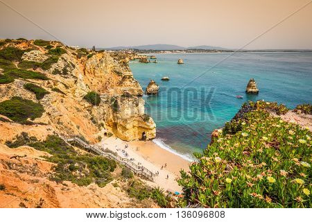 Natural rocks and beaches at Lagos Portugal