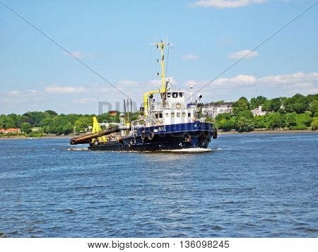 Construction Vessel On The River Elbe
