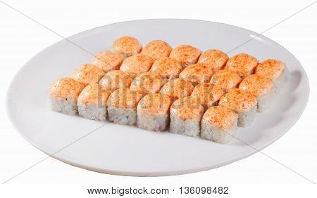 set of baked sushi rolls on an oval plate isolated on white background, orange beanie with caviar cheese and mayonnaise