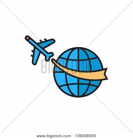 Airplane flying around globe. Travelling around world, transportation, travel, round-the-world trip. Travel concept. Can be used for topics like travelling, transport, tourism