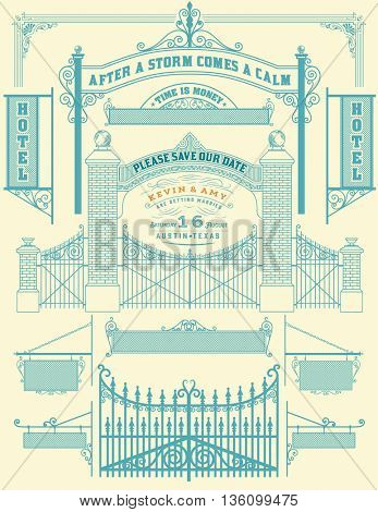 Wrought iron wicket and Wedding invitation, fence and gates grilles isolated. Vector set