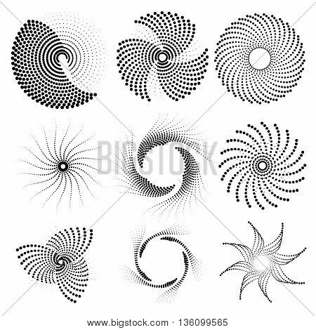 Nine abstract shapes consisting of the points. Vector illustration eps10