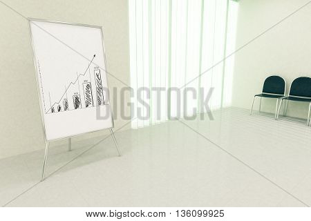 Conference hall interior with business chart on whiteboard stand seats and window with blinds. Financial growth concept. 3D Rendering