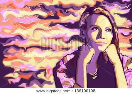 Abstract image of thoughtful girl on colorful background