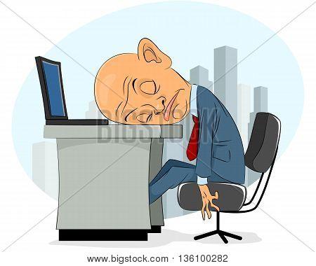 Vector illustration of a bald businessman asleep